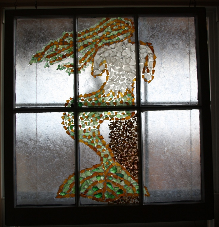 Seaglass mermaid on an old window pane cool crafts for Old window pane crafts