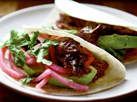 Barbacoa Beef Cheek Tacos with pickled onions