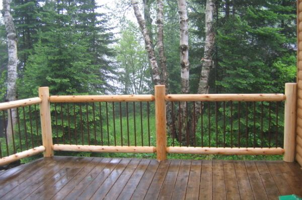 Log Railing With Wrought Iron Cabin Ideas Pinterest