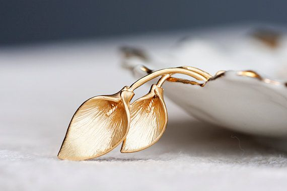 Calla lily necklace matte gold plating n129 by silentroses 23 00