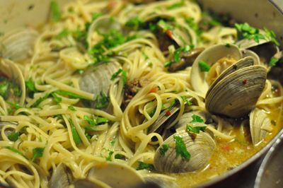 spaghetti with clams and chorizo | YUM | Pinterest