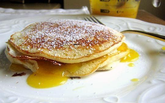 Fluffy Ricotta Pancakes: I added some orange zest to the batter and ...