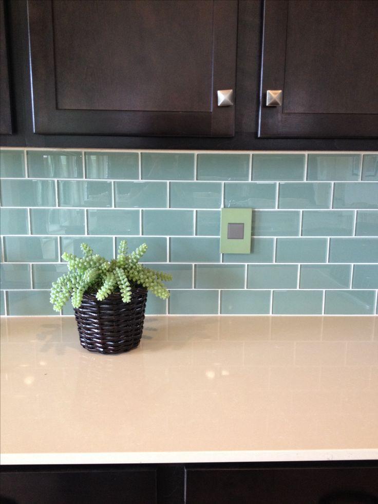 blue green glass subway tile backsplash kitchen pinterest