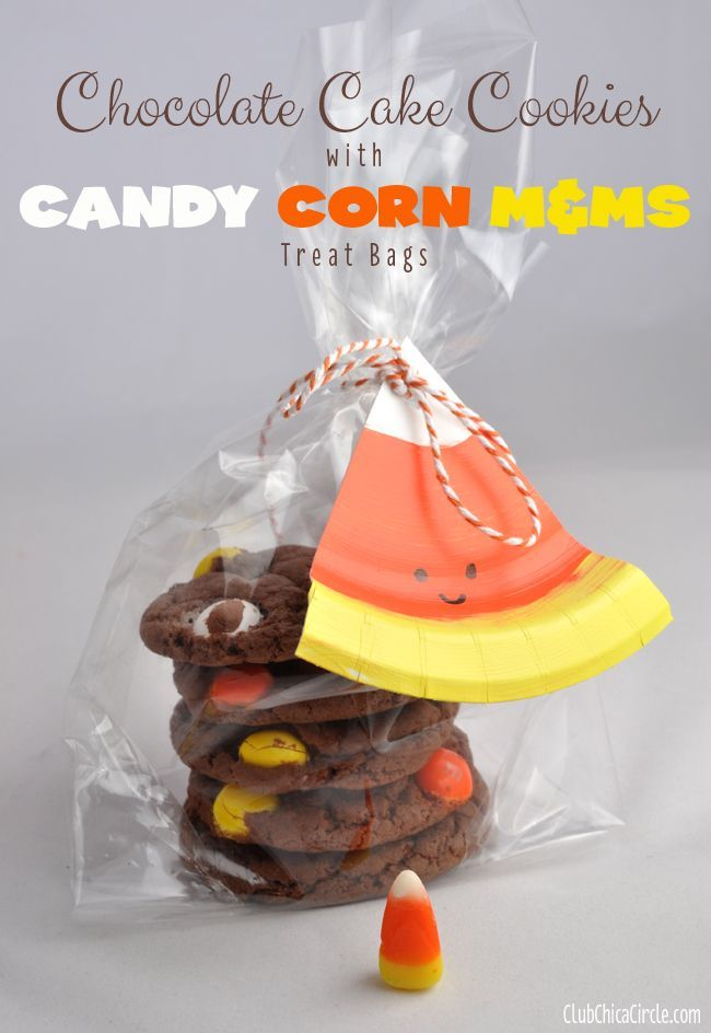 Candy Corn M&M Chocolate Cake Cookie Treat Bags - yummy and super ...