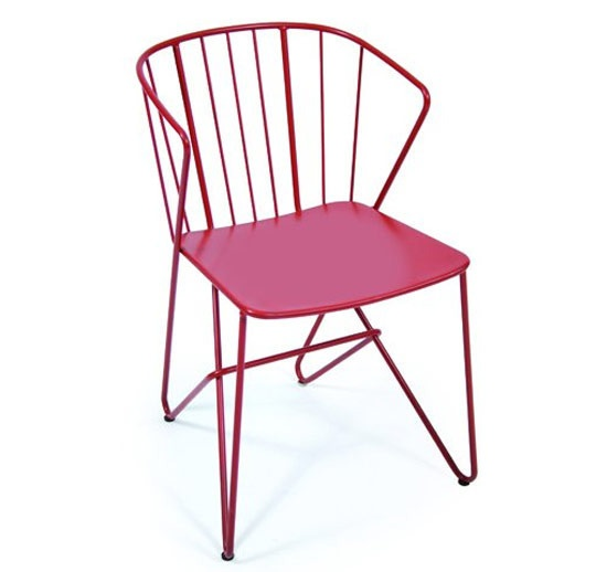 Red wired outdoor chair.