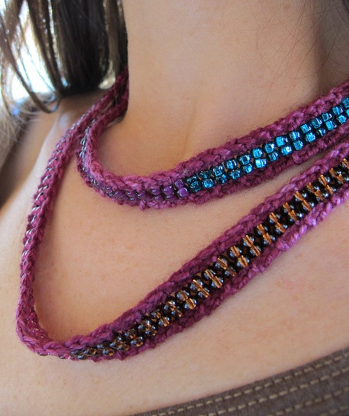 knitted beaded necklace Crafts - Crochet/Knit Pinterest