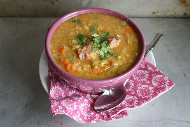 Red Lentil Soup with Ham by Heather Christo, via Flickr. Recipe is ok ...