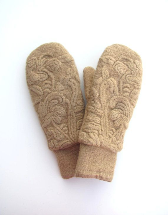 Wool Mittens from Recycled Sweaters Fleece Lined Camel Tan Embroidere ...