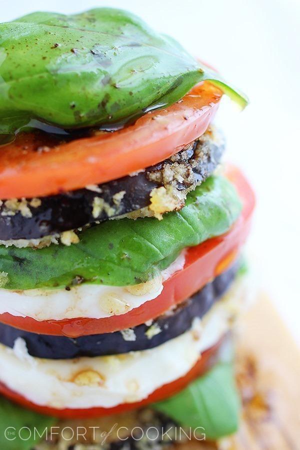 Crispy Eggplant Caprese Stacks | Recipe