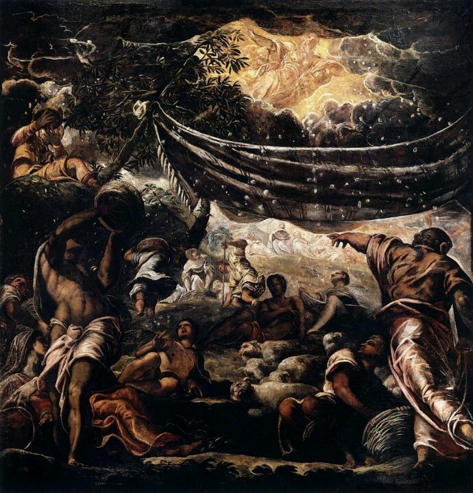 TINTORETTO The Miracle of Manna c. 1577 Oil on canvas, 550 x520 cm Scuola Grande di San Rocco, Venice