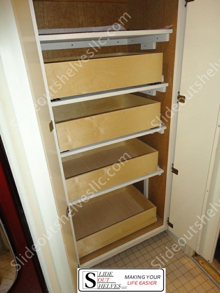 adding pull out shelves inside of a closet pantry makes. Black Bedroom Furniture Sets. Home Design Ideas