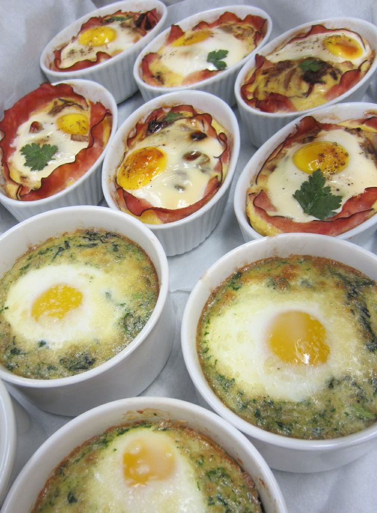Baked eggs for brunch buffet- with creamed spinach or ham & cheese