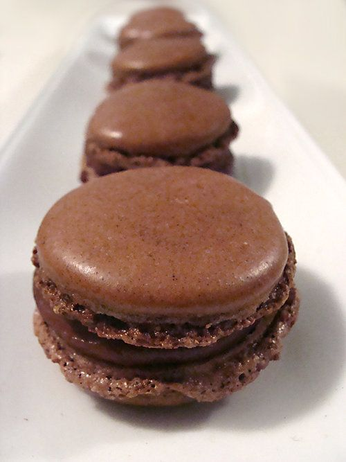 chocolate macaroon with chili infused chocolate ganache filling
