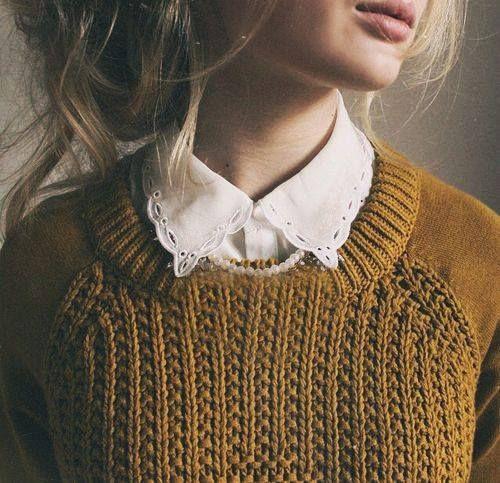 collar, shirt, lace, knit, jumper, mustard, autumn, winter, fashion, style