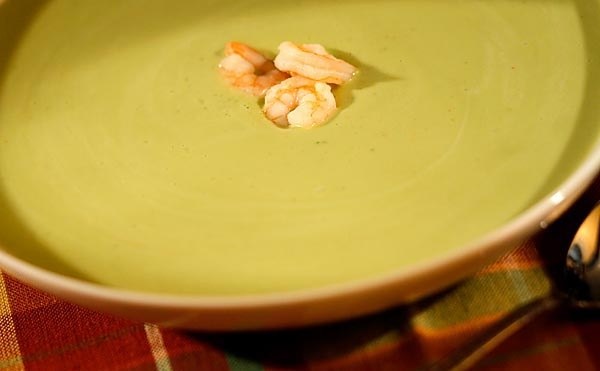 Chilled avocado and watercress soup with shrimp Here's an adapted ...
