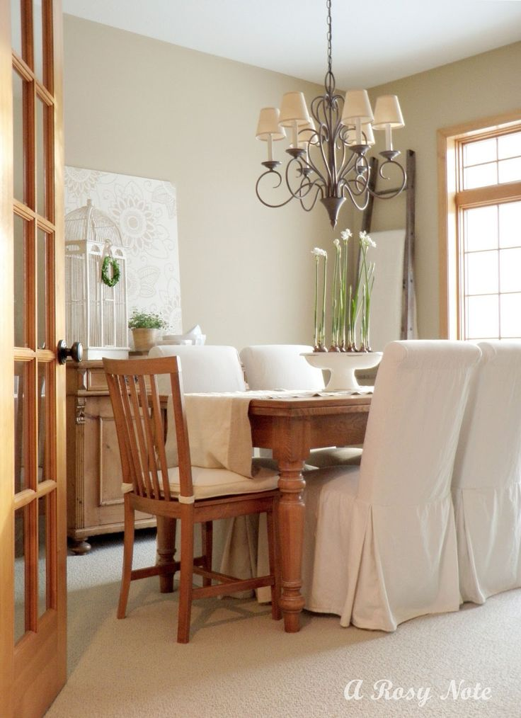 Dining room with slipcover parson chairs google search