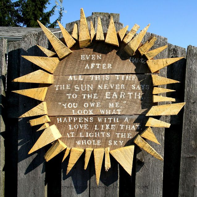 I Love this - the sun and the poem.  Perfect for the backyard.