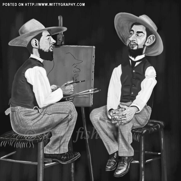 Toulouse Lautrec..Self Portrait.! | caricatures...havin a good time ...