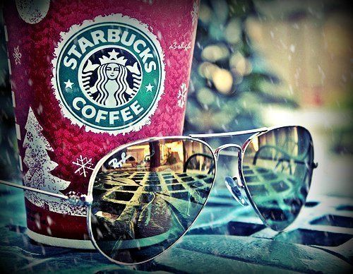 Starbucks and Rayban<3