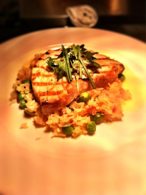 Grilled albacore, Basmati rice, English peas, Orange Beurre Blanc