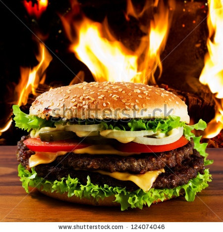 Hamburger - burger with grilled beef, cheese and vegetables - stock ...