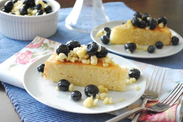 sweet corn cake with blueberry lavender compote - http://betsylife.com ...