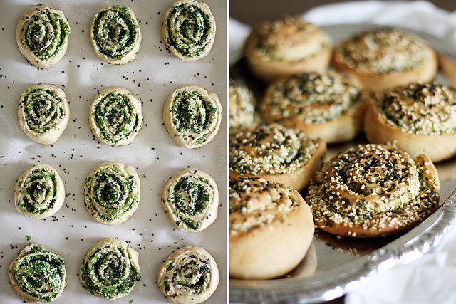 cilantro-scallion swirl rolls by girlversusdough, via Flickr