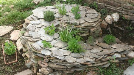 Herb spiral for the garden  jardin dherbes aromatiques