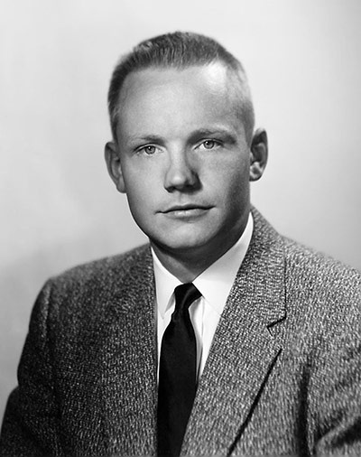 Portrait of Armstrong in 1959, 10 years prior to the journey that would immortalise him. Photograph: NASA/Getty Images