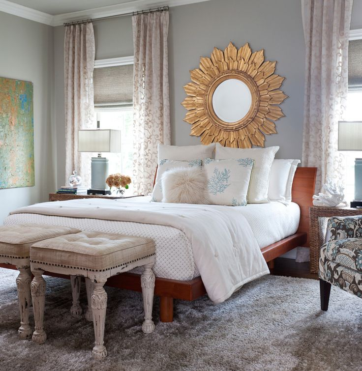 gray blue bedroom classic romantic chic gold sun mirror