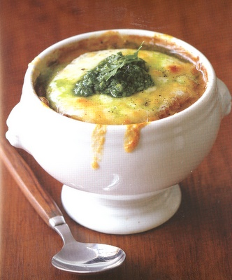 Vidalia Onion Soup with Blistered Vermont Cheddar Cheese