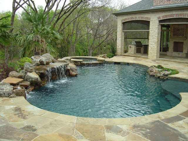 Nice little pool with rock waterfall  Awesome Inground Pool Designs ...