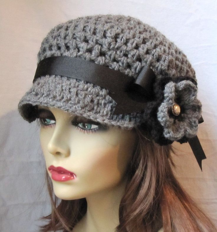 Womens Hat, Newsboy, Gray Crochet Black, Pearl, Flower, Ribbon, Wool ...