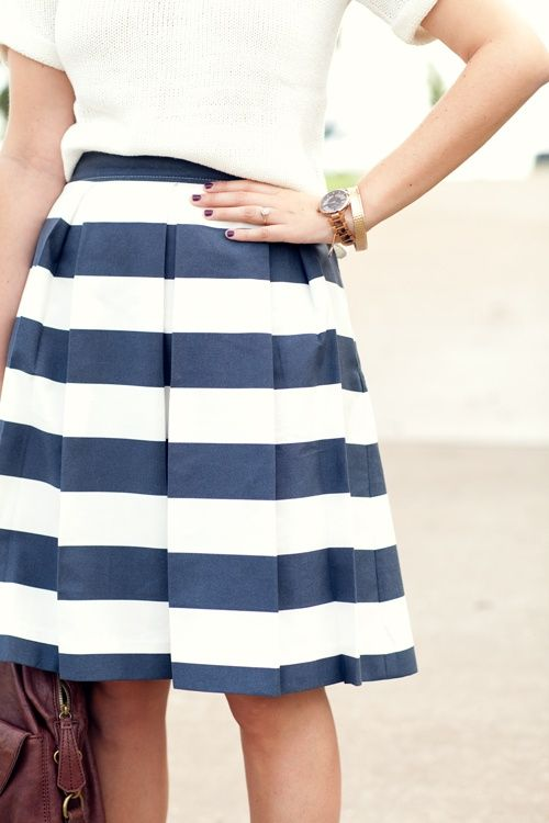 navy and white striped skirt clothed in strength and