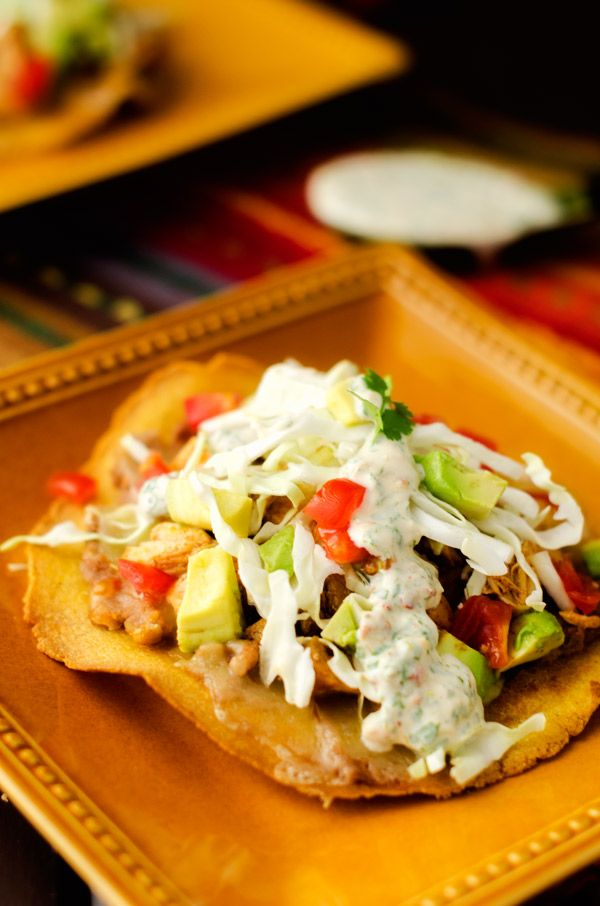 Chicken & Bean Tostadas with Chipotle Lime Sauce #glutenfree#healthy# ...