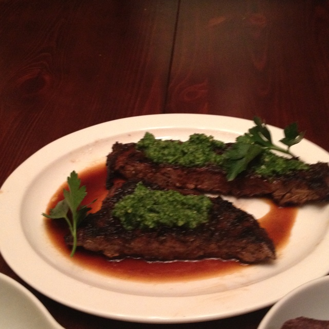 Grilled Skirt Steak w/ Salsa Verde made with these hands...