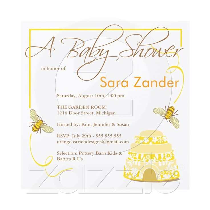 elegant bee baby shower invitations