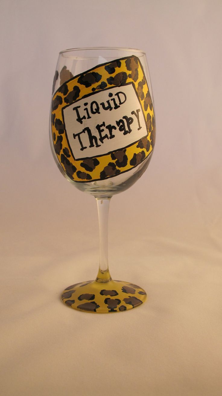 Liquid therapy hand painted wine glass for Hand painted wine glasses