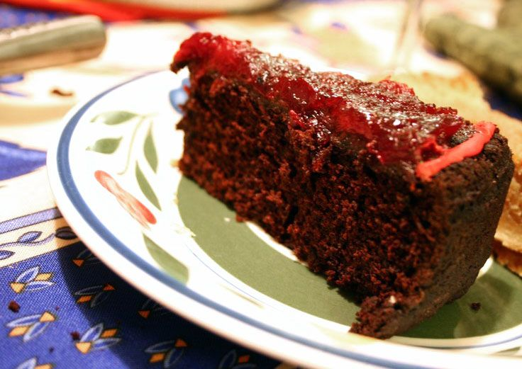 Old Fashioned Chocolate Cake with Cranberry Topping and it's VEGAN