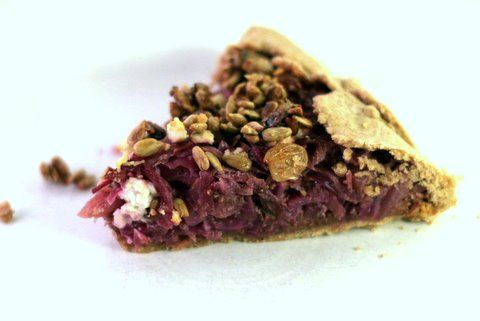 Balsamic Red Cabbage Galette with Caramelized Onions and Feta | Recipe