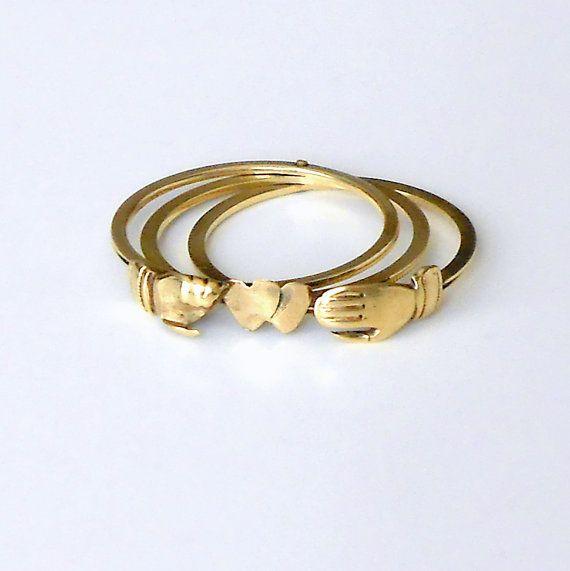 antique fede gimmel ring opening triplet gold
