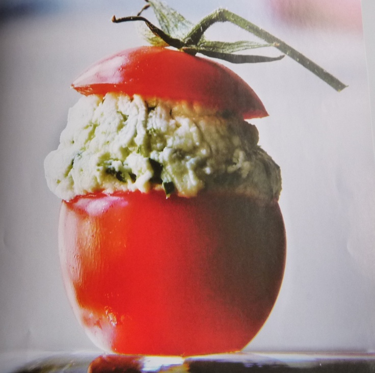 Cherry Tomatoes Filled With Goat Cheese Recipe — Dishmaps