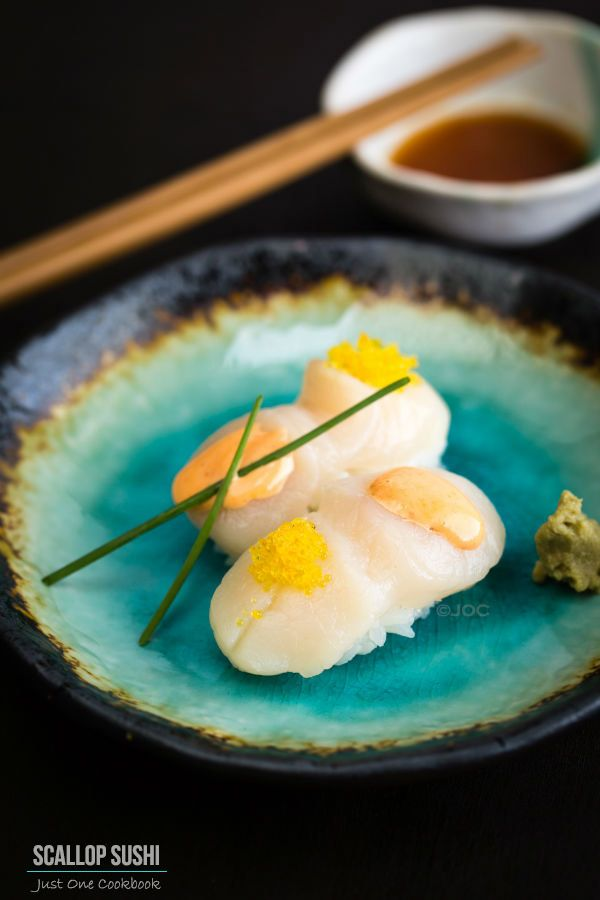 Scallop Sushi with Spicy Mayo and Yuzu Flavor Tobiko | Easy Japanese ...