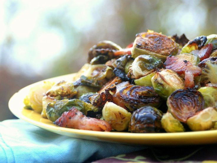 Roasted Brussels Sprouts with Bacon and Maple Syrup