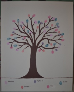 Thumbprint Family Tree - a different color for each family member. Great gift for grandmas.