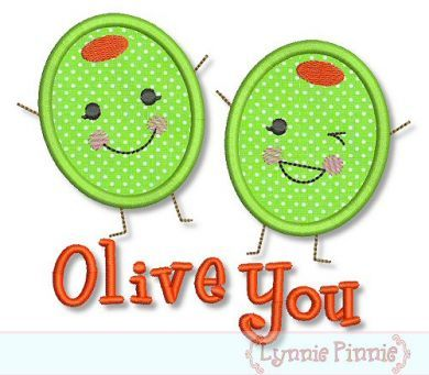 Olive You (I Love You) Applique 4x4 5x7 6x10 @Debra Voigt