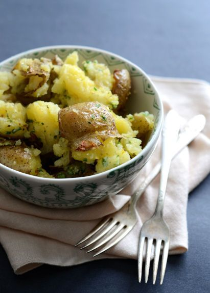 Smashed Potatoes with Parmesan Gremolata | Good Life Eats (Gremolata ...