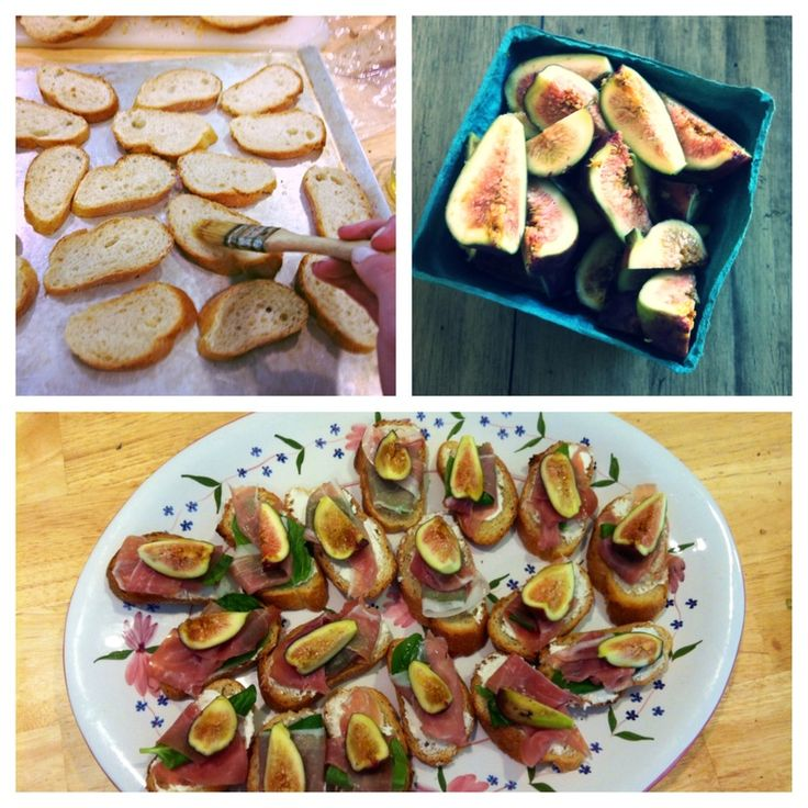 Basil wrapped prosciutto, goat cheese, fig and honey crostini #fresh # ...