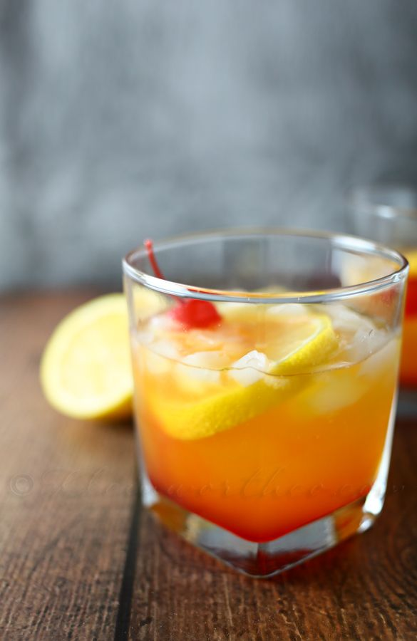 Millionaire Sour: lemon simple syrup + whiskey + grenadine
