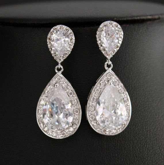 Wedding Jewelry Bridal Earrings Silver Clear by poetryjewelry, $48.00